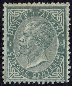 Kingdom of Italy, 1863 – Portrait of Vittorio Emanuele II – 5 cents – Greyish-green (T16) – Signed.