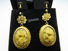 Set of Victorian earrings inlaid with decorated steatite – 45 mm