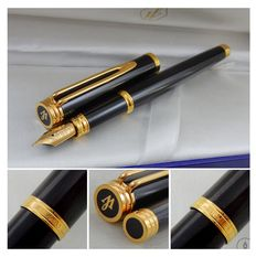 Gorgeous Waterman Gentleman Fountain Pen | Black Lacquer GT |  18K IDEAL Fine nib | New Old Stock - Mint Condition