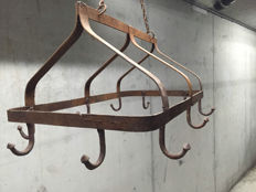 Large iron game crown on a chain with ten hooks, France, 1st half 20th century