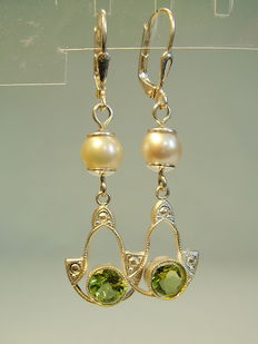 Earrings with real peridots and nature grey Akoya pearls