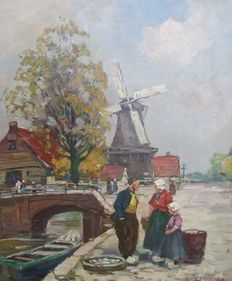 Harry Haerendel (1896-1991)-Dutch scene with mill and various people