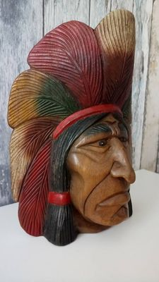 Hand-carved wooden mask Navajo Indian 1940-1950