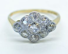 18 ct geelgoud en platina cluster diamanten ring