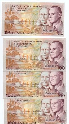 Luxembourg - 4 x 100 francs 1981 - consecutive numbers - Pick 14A