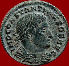Roman Empire - Constantine I the great (307-337 A.D.) bronze follis (3,03 g. 20 mm). Ticinum mint, 314-315 A.D. SOLI INVICTO COMITI. * / S·T