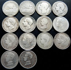 Spain – Provisional Government, Alfonso XII and Alfonso XIII – 14 silver coins of one peseta – 1869 to 1904