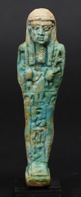 Egyptian faience Ushabti for the Overseer of Necropolis Sematawy Tanetneferher - 11,3 cm