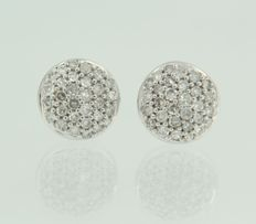 18 kt white gold ear studs set with 60 pieces of octagon cut diamond.