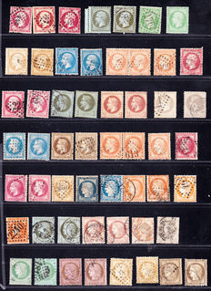 France 1853/1872 - Selection of 54 tax stamps from Yvert no. 17 to 56