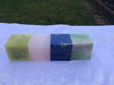 Mineral cubes of Lapis Lazuli , new Jade, Serpentine and Mangano Calcite - 50 x 50mm - 1484gm  (4)