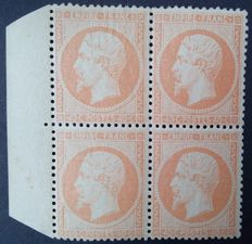 France 1862 – perforated Napoleon III, 40 c. orange, block of 4, signed Céres, with certificate – Yvert No. 23