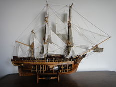 Wooden model boat of the HMAV Bounty