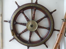Brown's brothers teak wood ships steering wheel