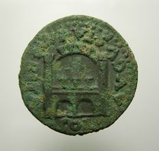 Roman Empire - Tiberius As of Emerita, 14-37 AD (Merida, Spain), Campgate, 10.19 g - 26 mm