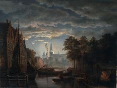 Petrus van Schendel (1806 - 1870) attributed to - Amsterdam by night