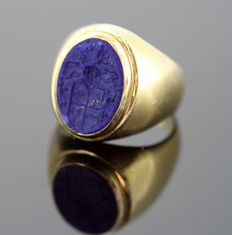18K Yellow gold ring with seal, French  1870's