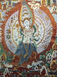 Cotton and silk tapestry depicting Chenrezig with a thousand arms - Nepal - 21st century