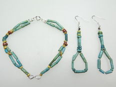 Set of Egyptian earrings and bracelet with faience beads and modern silver infinity amulet - 18 cm + 2x70 mm