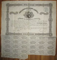 USA - Confederate States of America - 8% Loan (Act of August 19 1861) $500 1862 - Criswell 71