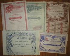 France / Colonies - 5 different DECO shares - all with African animal vignettes + at least one elephant - Lot of 5
