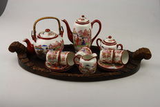 Graceful Japanese Tea and Coffee set for 5 people with a wooden serving tray