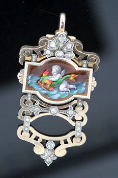 18th Century French 18K Gold Pendant With Diamonds (0.60 CT Total) and Enameled Angel Holding Fish