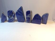 Hand-polished Lapis Lazuli freeforms - 6.5 x 3cm to 9 x 4.5cm - 840gm  (6)