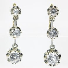 Late Art Deco Vintage bicolour gold white sapphire earrings