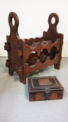 Brutalist wine rack with box, designer unknown