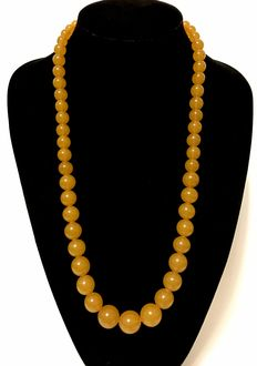 Art Deco long necklace of 100% natural Baltic amber beads 9-17mm, butterscotch, Königsberg