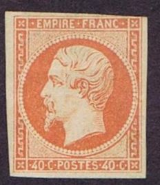 France 1853 - Napoleon 40c. orange - with certificate A. von der Weid - Yvert no. 16
