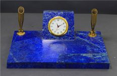 Hand Crafted Beautiful Natural Lapis Lauzli Pen Holder and Clock Decoration Piece - 663 Gram 155*105 mm