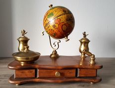 Old Inkwell, writing desk, pen holder, globe in wood and copper or brass