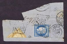 France 1871 – 10 c. bistre-yellow – half of stamp cut, on a fragment of paper - signed Roumet - Yvert no.36