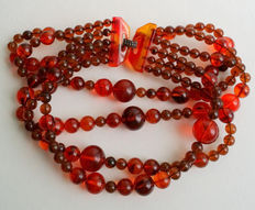 Root Beer Lucite Beaded Multi Strand Chunky Choker Necklace