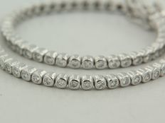 White gold tennis bracelet, set with 105 brilliant cut diamonds, approximately 1.35 ct in total – H SI/I ****NO RESERVE PRICE*******
