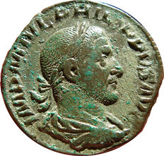 Roman Empire - Philip I (244 - 249 A.D.) bronze sestertius (18,30 g., 29 mm). Rome mint, 2nd. officina. 1st emission, AD 244. LAET. FVNDATA.