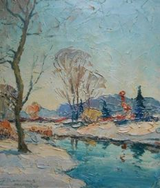 "Unknown (20th century) - colourful Swedish landscape ""Delarne Sverige"""