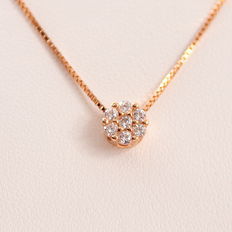 Rose gold necklace set with white sapphires