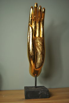 Very large golden hand of Buddha - Thailand - late 20th