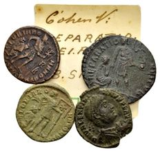 Roman Empire - Lot of 4 late Roman AE coins of Gratianus and Valentinianus I 364-383 AD / from the Lückger collection (1864-1951)