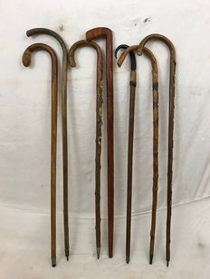 Seven wooden canes