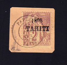 Tahiti 1893 - 2c Lilac brown on straw on fragment signed Calves with Certificate - Yvert n ° 20