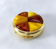 Gold-plated natural amber box