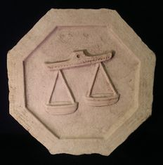 Rubbio marble tile with the zodiacal sign of Libra - Italy - Mantua - ca.1900