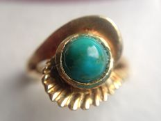14 karat gold ring with turquoise, heavy edition