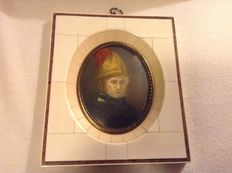 Miniature portrait after Rembrandt on ivory, in ivory frame -France - ca 1850