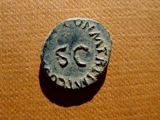Roman Empire - Claudius I (41 - 54 A.D.) bronze quadrans (3,20 g. 15 mm.) - 42 A.D. - Rome. Modius / S.C.