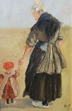 Unknown (20th century) - Fisherman's wife with child in the dunes with monogram MH 1906